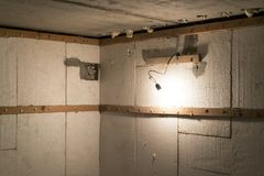 basement insulation with foam. Heat insulation of walls with foam plastic royalty free stock images