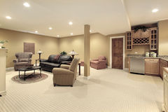 Basement with kitchen area Stock Photos