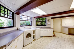Basement with laundry area. Spacious laundry area in basement Stock Image