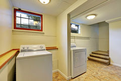 Basement laundry room interior Royalty Free Stock Photos
