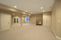 Basement in new construction home Stock Image
