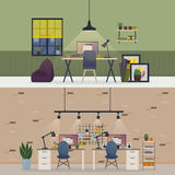 Basement office, flat or room workspace interior Royalty Free Stock Photo