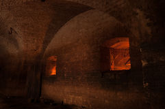Basement old fortress. Room in the basement of an old fortress Royalty Free Stock Photos