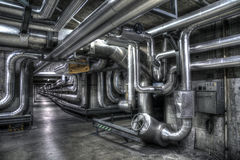 Basement pipelines grey Royalty Free Stock Image