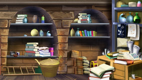 Basement shelves. Image 1. Digital painting of the interior of an old cellar with shelves full of many different things