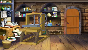 Basement shelves. Image 2. Digital painting of the interior of an old cellar with shelves full of many different things