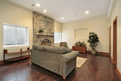 Basement with stone fireplace Royalty Free Stock Photography