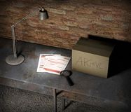Basement table with box and top secret file. Table lamp, magnifying glass and pencil. Important sheets and documents. Basement table with box and top secret file royalty free illustration