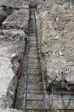 Basement trench reinforced with rebar steel Stock Photo