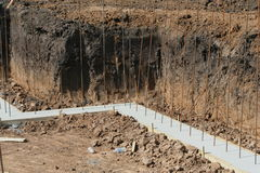 Basement wall footing Stock Image