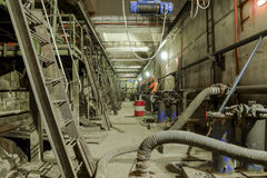Basement of a water pumping station. Abandoned post-apocalyptic Royalty Free Stock Photography