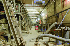 Basement of a water pumping station. Abandoned post-apocalyptic Stock Image