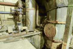 Basement of a water pumping station. Abandoned post-apocalyptic Stock Photography