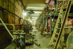 Basement of a water pumping station. Abandoned post-apocalyptic Stock Images