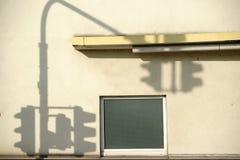 Basement window with traffic light shade Royalty Free Stock Photos