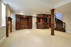 Basement with wood cabinetry. Basement in new construction home with wood cabinetry Stock Images