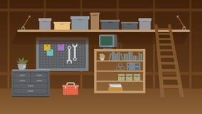 Basement Workshop Interior Illustration. Workspace. Basement Workshop Illustration. Garage or Cellar Indoor Storehouse with Mechanic Equipment Set. Stockroom or vector illustration