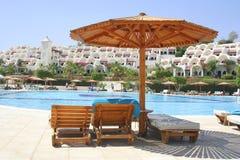 basen hotelowy sunshade Obrazy Royalty Free