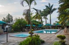 Basen i brodzący basen w tropikalnym położeniu z drzewkami palmowymi w th Zdjęcia Royalty Free