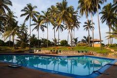 Basen otaczający drzewkami palmowymi obrazy royalty free