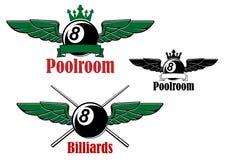Basenu lub billiards piłka z skrzydłami Zdjęcie Stock