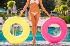 baseny parasoli pływający wody Fotografia Royalty Free