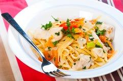 Baserad pasta för feg tomatolja Royaltyfria Bilder