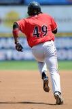 Baserunner in baseball digging for second base Royalty Free Stock Image