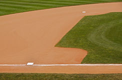 Bases de la suciedad de la hierba del área de la pista de aterrizaje del béisbol imagenes de archivo