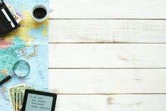 Bases de planification de voyage Copiez l'espace Photo stock