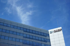 BASF办公楼街道视图法国 免版税库存照片