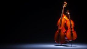 Basfiol och violoncell i mörk tolkning för studio 3D Arkivbild