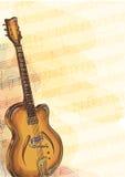 Basgitaar op achtergrond met met de hand gemaakte nota's. vector illustratie