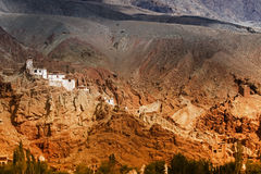 Basgo Monastery surrounded with stones and rocks , Leh, Ladakh, Jammu and Kashmir, India Royalty Free Stock Photos