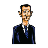 Bashar al-Assad Cartoon Caricature Portrait. Vector Illustration Royalty Free Stock Images