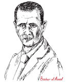 Bashar Hafez al-Assad, President of Syria, commander-in-chief of the Syrian Armed Forces, Syrian Ba`ath Party. Drawn by hand 2d illustration, simple lines Royalty Free Stock Photo