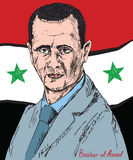 Bashar Hafez al-Assad, President of Syria, commander-in-chief of the Syrian Armed Forces, Syrian Ba`ath Party. Drawn by hand 2d illustration in pop art style Royalty Free Stock Image
