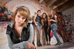 Bashful Girl Being Bullied Stock Photo
