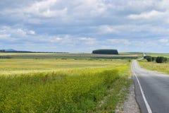 Bashkir Ural gór pogórzy pola z drogą wschód Fotografia Royalty Free