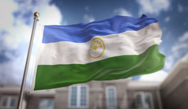 Bashkortostanvlag het 3D Teruggeven op Blauwe Hemel de Bouwachtergrond Stock Afbeelding
