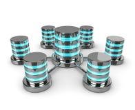 Basi di dati collegate 3d isolate su fondo bianco Immagini Stock