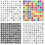 100 basi di dati e vettore fissato icone della nuvola variabile Fotografia Stock Libera da Diritti