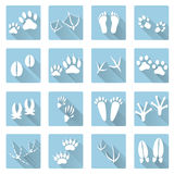 Basic animal footprints flat shadow icon set eps10 Royalty Free Stock Photography