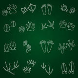 Basic animal footprints outline icons set Stock Photo
