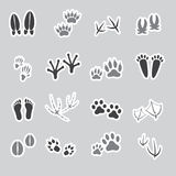 Basic animal footprints stickers, set Royalty Free Stock Images