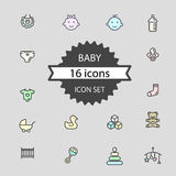 Basic - Baby icon set 16 icons Royalty Free Stock Image