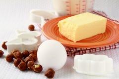 Basic baking ingredients, flour, eggs Stock Photo