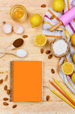 Basic baking ingredients and kitchen tools close up Royalty Free Stock Photo