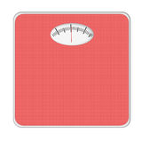 Basic bathroom scale, scales. Red. Isolated on white. No numbers or weight mentioned. Generic Stock Image