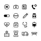 16 Basic black icon set for medical and healthcare. 16 Basic black color icon set for medical and healthcare business on white background stock illustration